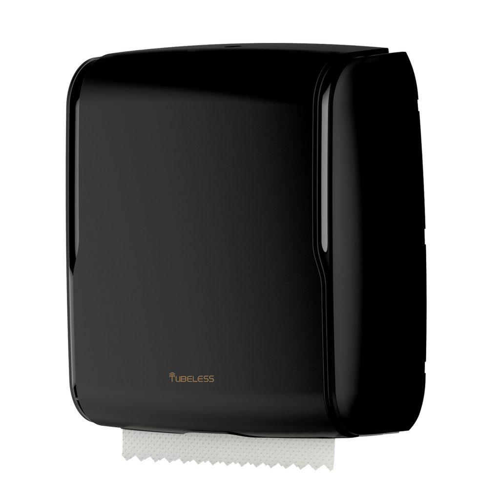 Tubeless Executive Black Folded Hand Towel Dispenser